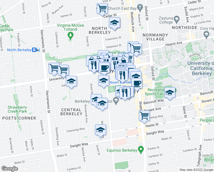 map of restaurants, bars, coffee shops, grocery stores, and more near Martin Luther King Jr Way & Center St in Berkeley
