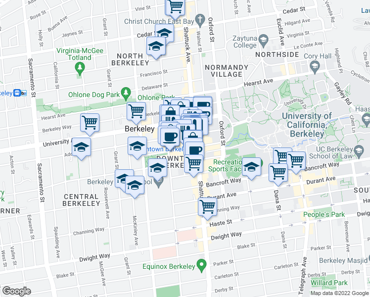 map of restaurants, bars, coffee shops, grocery stores, and more near 2055 Center Street in Berkeley