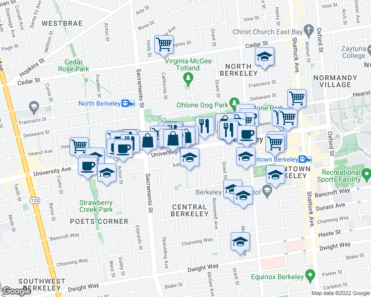 map of restaurants, bars, coffee shops, grocery stores, and more near 2015 Jefferson Avenue in Berkeley