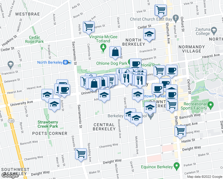 map of restaurants, bars, coffee shops, grocery stores, and more near 1722 University Avenue in Berkeley