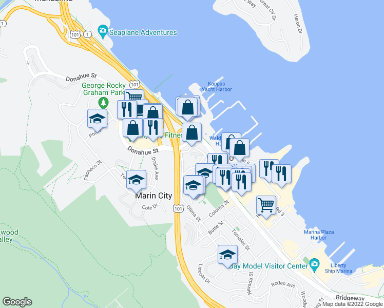 map of restaurants, bars, coffee shops, grocery stores, and more near 260 Eden Roc Drive in Sausalito