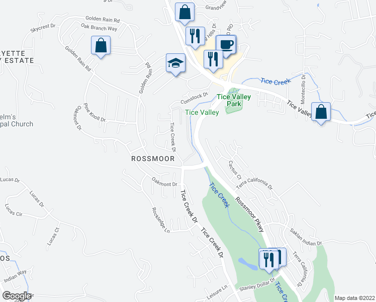 map of restaurants, bars, coffee shops, grocery stores, and more near 1860 Tice Creek Drive in Walnut Creek