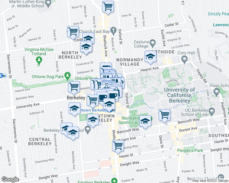 map of restaurants, bars, coffee shops, grocery stores, and more near 63 Shattuck Avenue in Berkeley