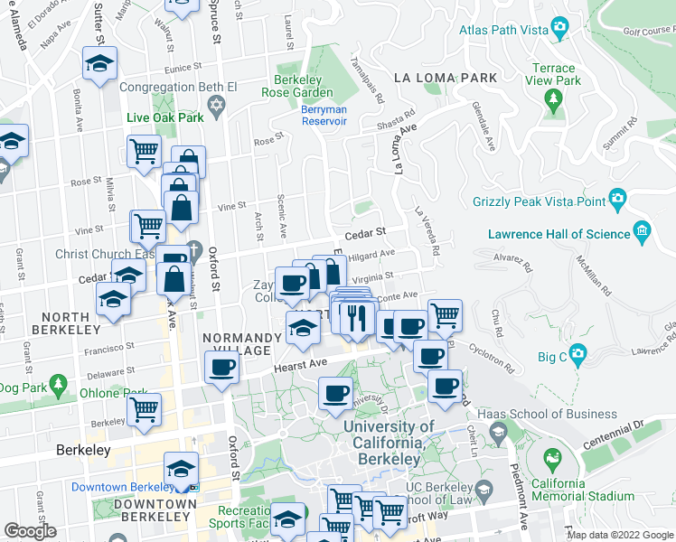 map of restaurants, bars, coffee shops, grocery stores, and more near 1668 Euclid Avenue in Berkeley