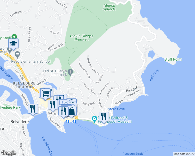map of restaurants, bars, coffee shops, grocery stores, and more near 465 Ridge Rd in Tiburon