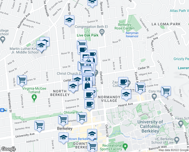 map of restaurants, bars, coffee shops, grocery stores, and more near Cedar St & Walnut St in Berkeley