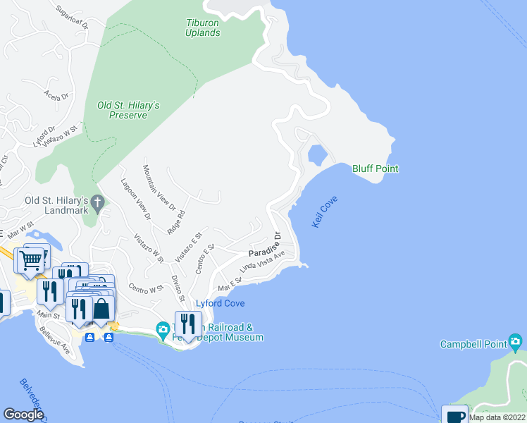 map of restaurants, bars, coffee shops, grocery stores, and more near 2495 Paradise Drive in Marin County