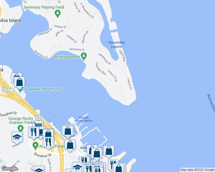 map of restaurants, bars, coffee shops, grocery stores, and more near 88 Great Circle Drive in Mill Valley