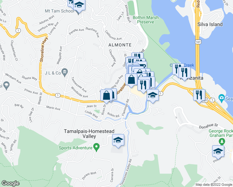map of restaurants, bars, coffee shops, grocery stores, and more near Shoreline Highway in Mill Valley