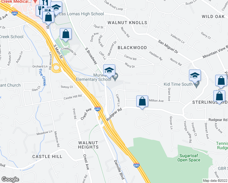 map of restaurants, bars, coffee shops, grocery stores, and more near 2057 Camel Lane in Walnut Creek