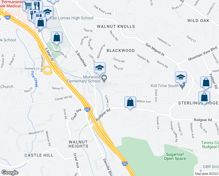 map of restaurants, bars, coffee shops, grocery stores, and more near 2033 Camel Lane in Walnut Creek
