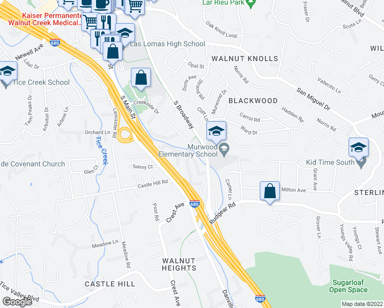 map of restaurants, bars, coffee shops, grocery stores, and more near 1390 Creekside Drive in Walnut Creek