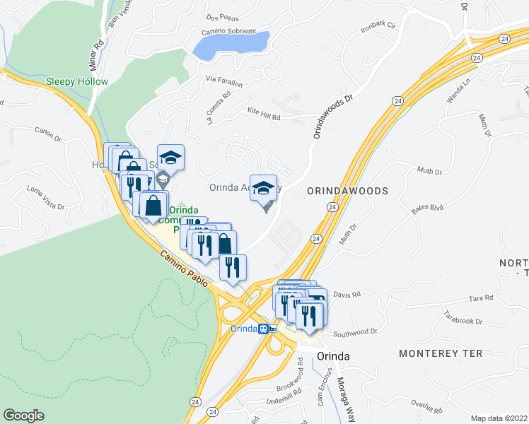 map of restaurants, bars, coffee shops, grocery stores, and more near 19 Altarinda Road in Orinda