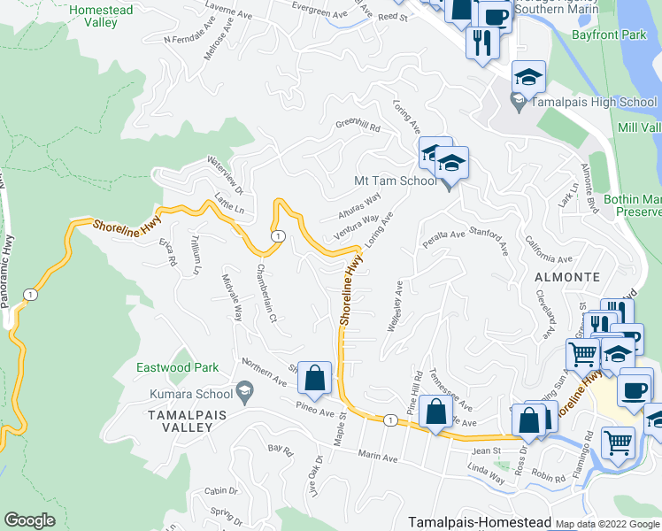 map of restaurants, bars, coffee shops, grocery stores, and more near Alta Way in Mill Valley