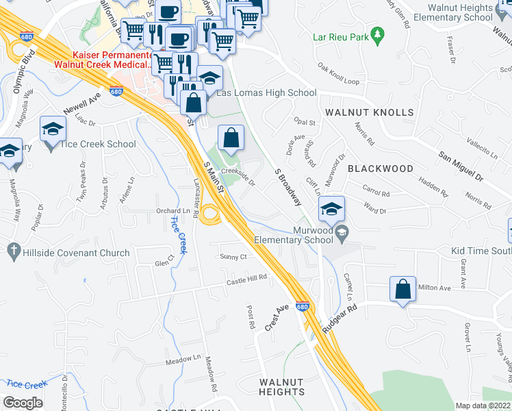 map of restaurants, bars, coffee shops, grocery stores, and more near 1459 Creekside Drive in Walnut Creek