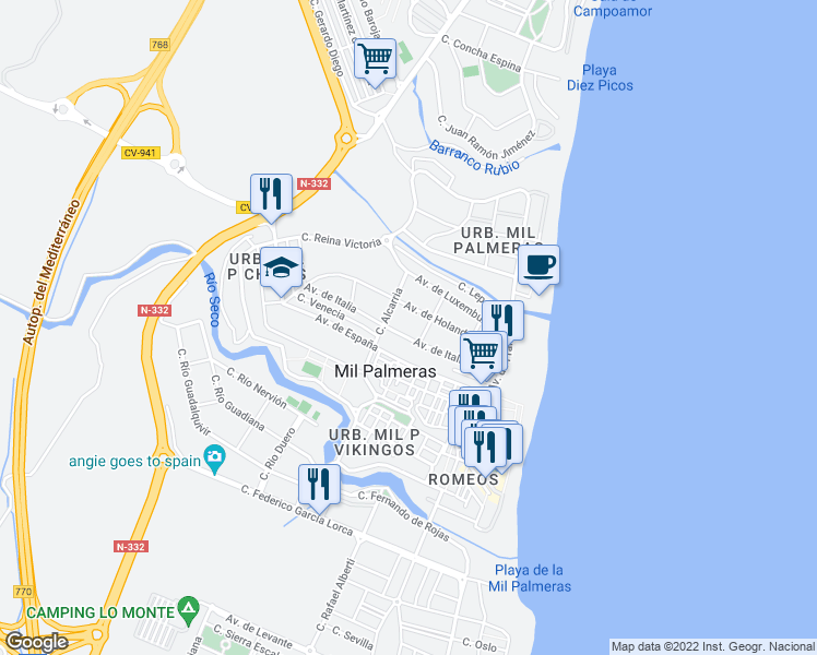 map of restaurants, bars, coffee shops, grocery stores, and more near 13 Calle Escorpiones in Torrevieja