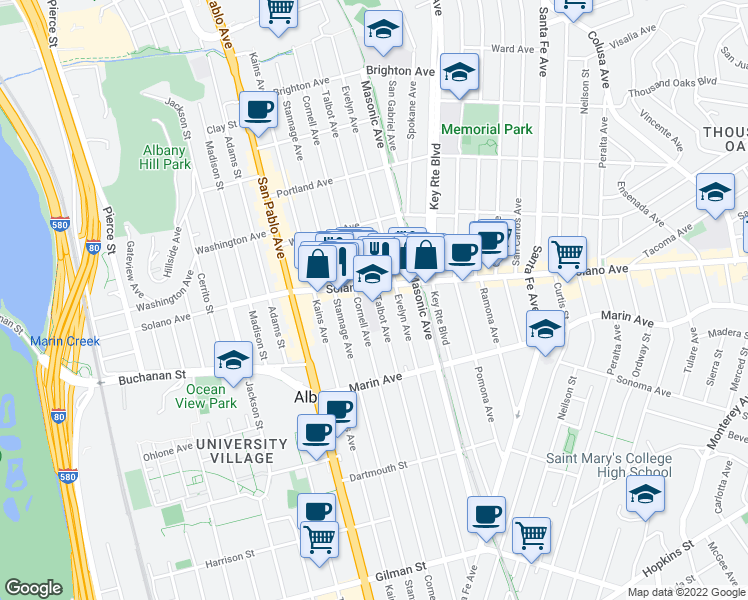 map of restaurants, bars, coffee shops, grocery stores, and more near 899 Talbot Avenue in Albany