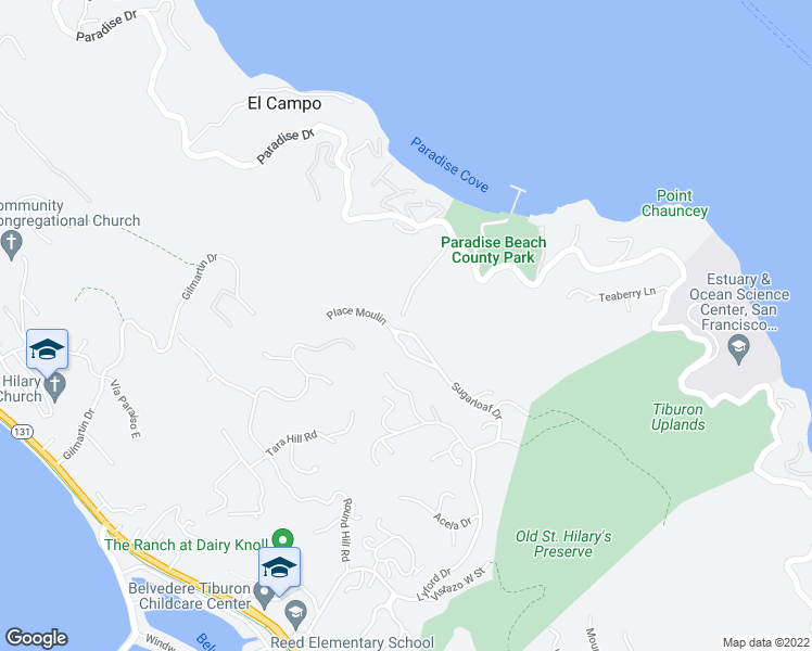 map of restaurants, bars, coffee shops, grocery stores, and more near 136 Sugarloaf Drive in Tiburon