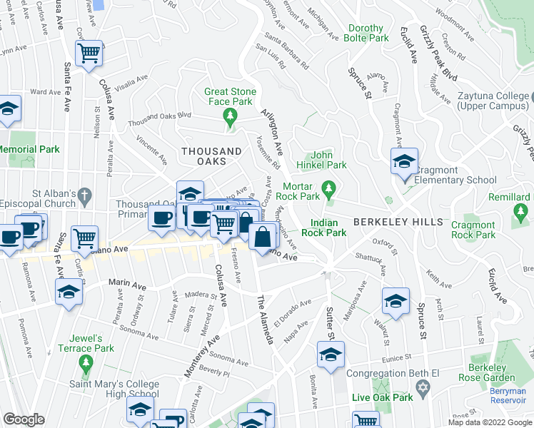 map of restaurants, bars, coffee shops, grocery stores, and more near 818 Mendocino Avenue in Berkeley