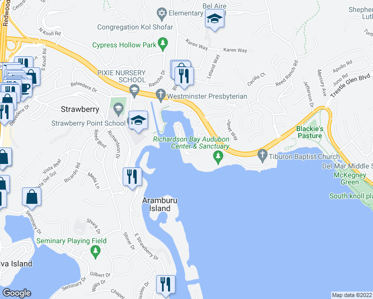 map of restaurants, bars, coffee shops, grocery stores, and more near 96 Barbaree Way in Marin County