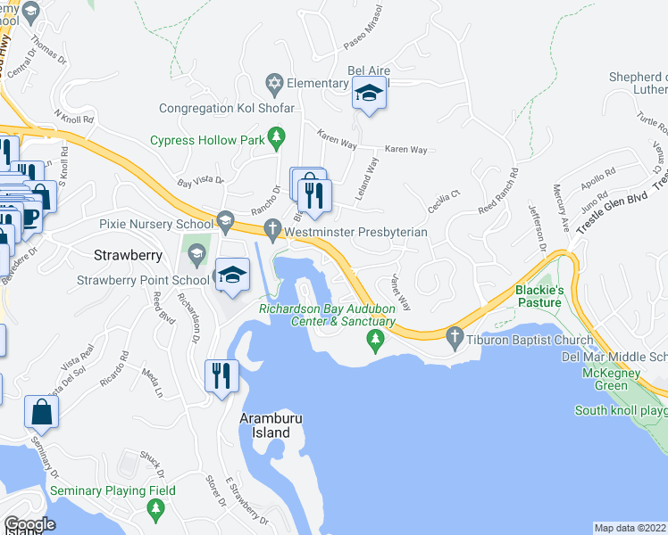 map of restaurants, bars, coffee shops, grocery stores, and more near 12 Greenwood Cove Drive in Belvedere Tiburon