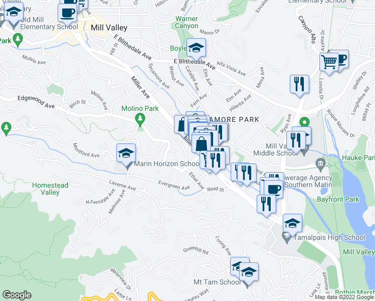 map of restaurants, bars, coffee shops, grocery stores, and more near 491 Ethel Avenue in Mill Valley