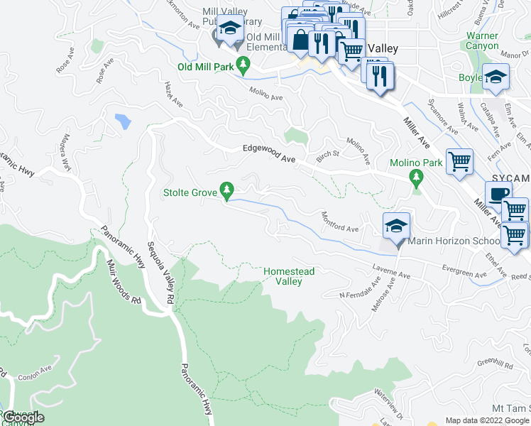 map of restaurants, bars, coffee shops, grocery stores, and more near 452 Laverne Avenue in Mill Valley