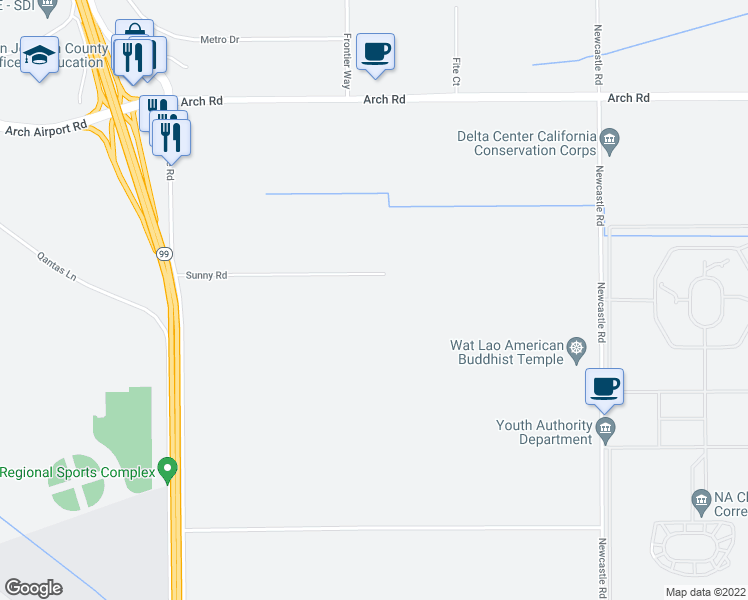 map of restaurants, bars, coffee shops, grocery stores, and more near 4010 Sunny Road in Stockton