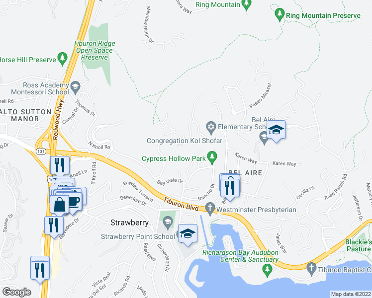 map of restaurants, bars, coffee shops, grocery stores, and more near 59 Via Los Altos in Tiburon