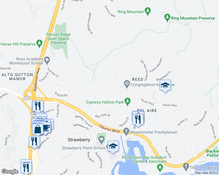 map of restaurants, bars, coffee shops, grocery stores, and more near 80 Vía Los Altos in Tiburon