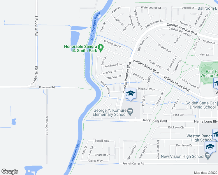 map of restaurants, bars, coffee shops, grocery stores, and more near 4310 Mist Trail Dr in Stockton