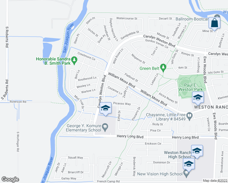map of restaurants, bars, coffee shops, grocery stores, and more near 4114 Bastille Court in Stockton