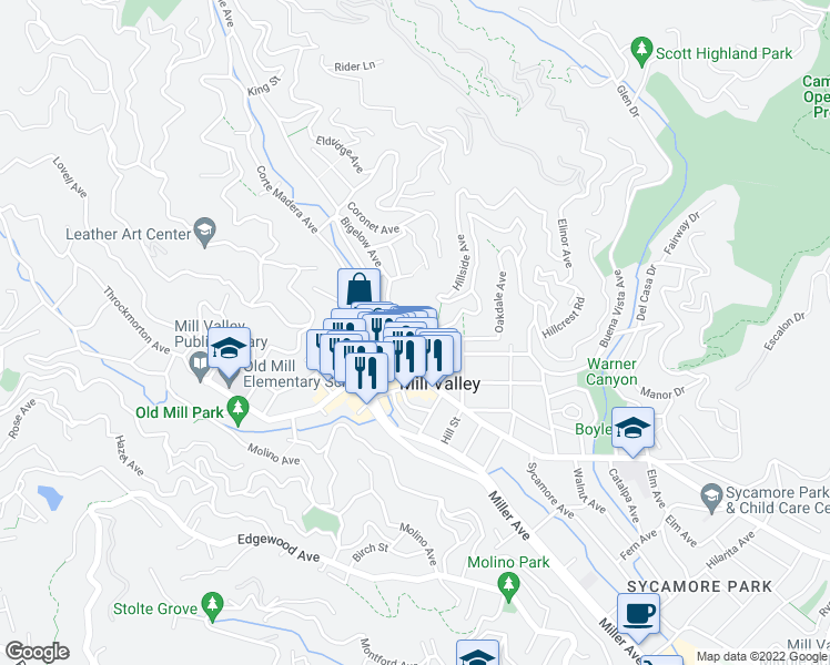 map of restaurants, bars, coffee shops, grocery stores, and more near 21 Oakdale Avenue in Mill Valley