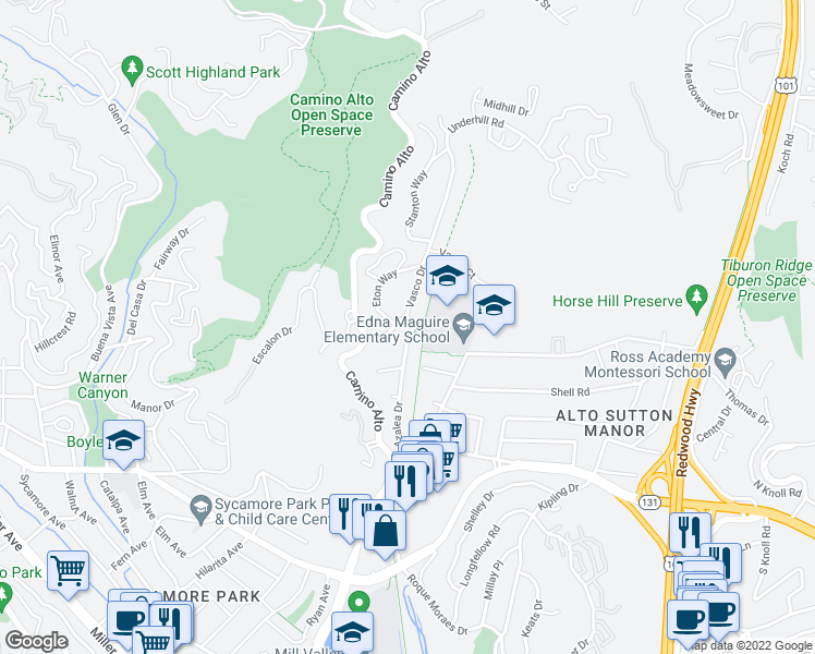 map of restaurants, bars, coffee shops, grocery stores, and more near 27 Azalea Drive in Mill Valley