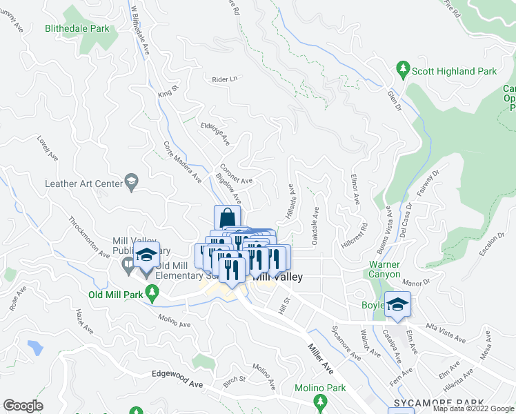 map of restaurants, bars, coffee shops, grocery stores, and more near 29 Roosevelt Avenue in Mill Valley