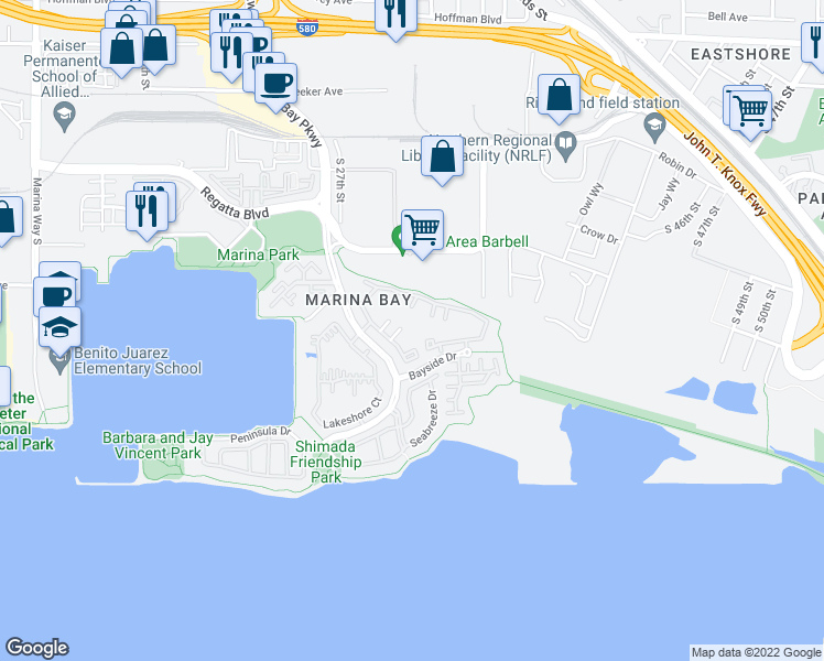 map of restaurants, bars, coffee shops, grocery stores, and more near 168 Marina Lakes Drive in Richmond