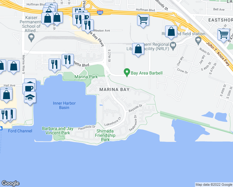 map of restaurants, bars, coffee shops, grocery stores, and more near 247 Marina Lakes Drive in Richmond