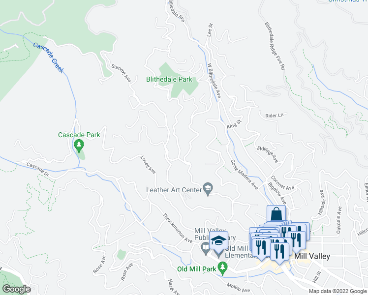 map of restaurants, bars, coffee shops, grocery stores, and more near 26 Ralston Avenue in Mill Valley