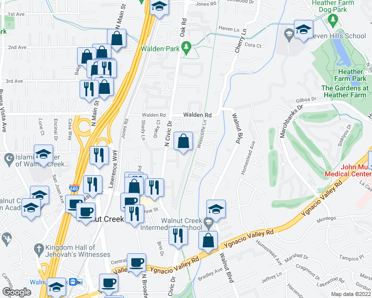 map of restaurants, bars, coffee shops, grocery stores, and more near 460 North Civic Drive in Walnut Creek