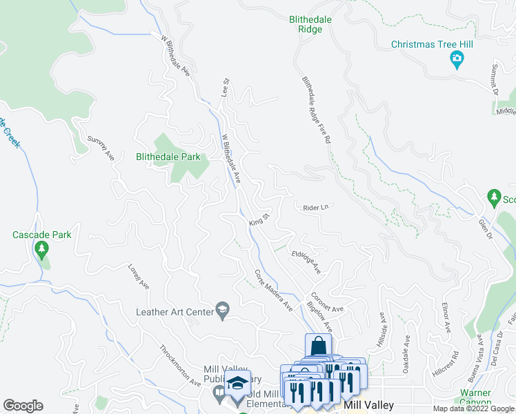 map of restaurants, bars, coffee shops, grocery stores, and more near in Mill Valley