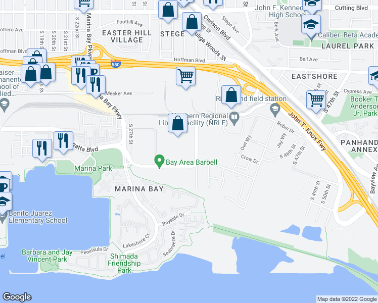 map of restaurants, bars, coffee shops, grocery stores, and more near 3113 Regatta Boulevard in Richmond