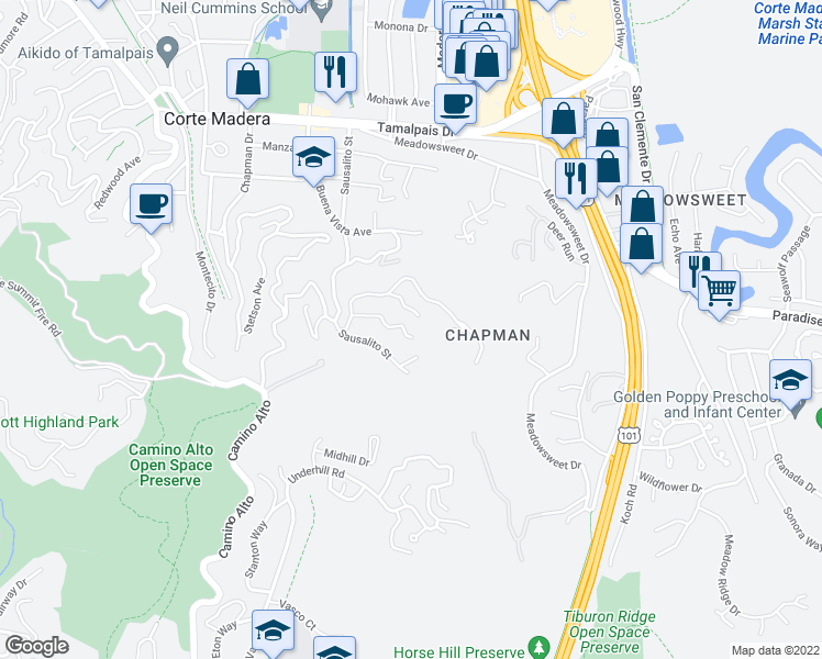 map of restaurants, bars, coffee shops, grocery stores, and more near 11 Madrono Avenue in Corte Madera