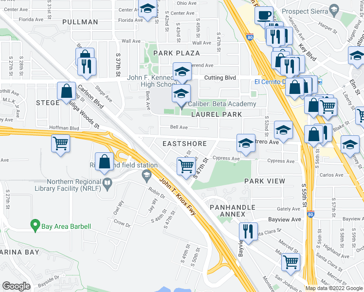 map of restaurants, bars, coffee shops, grocery stores, and more near 868 South 45th Street in Richmond