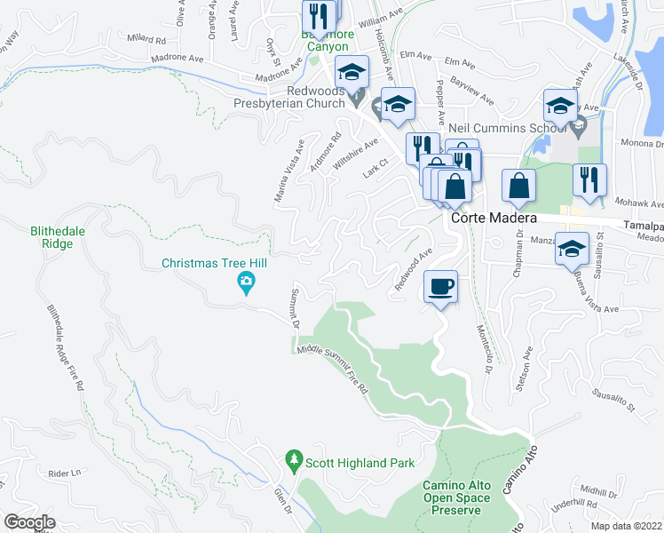 map of restaurants, bars, coffee shops, grocery stores, and more near Summit Drive in Larkspur
