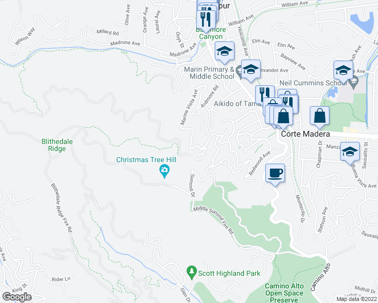 map of restaurants, bars, coffee shops, grocery stores, and more near 178 Marina Vista Avenue in Larkspur