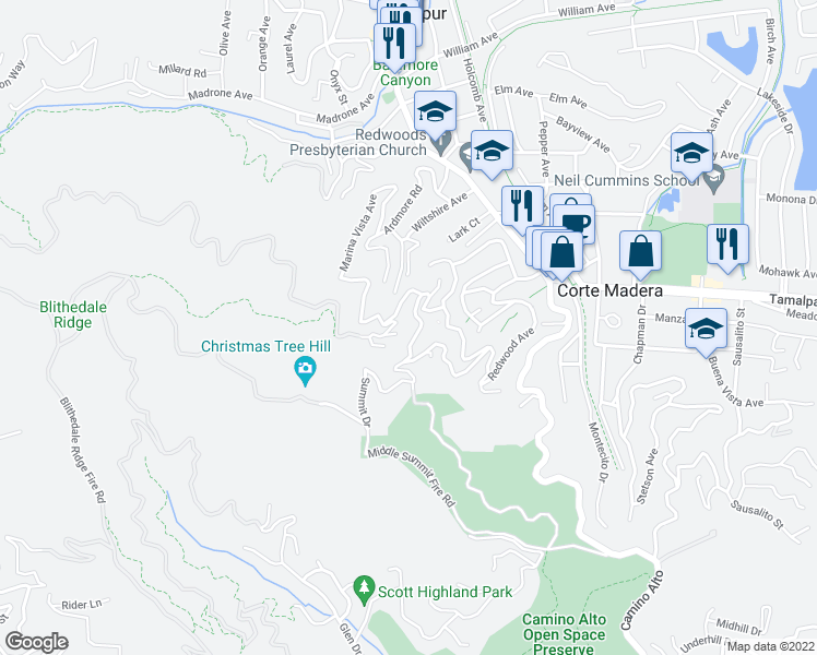 map of restaurants, bars, coffee shops, grocery stores, and more near 76 Summit Drive in Corte Madera