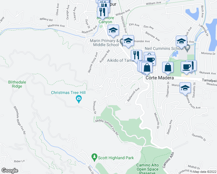 map of restaurants, bars, coffee shops, grocery stores, and more near 74 Summit Drive in Corte Madera