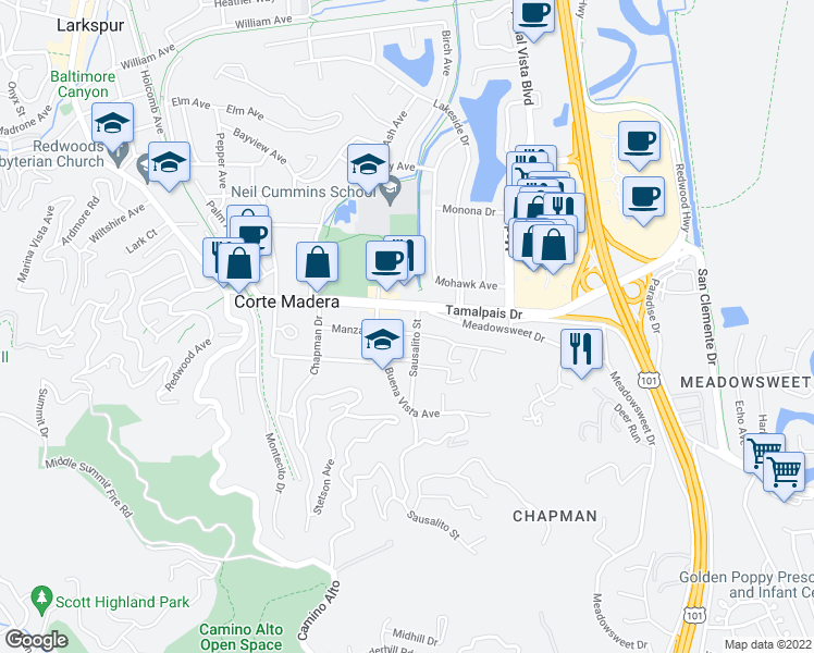 map of restaurants, bars, coffee shops, grocery stores, and more near 530 Manzanita Avenue in Corte Madera