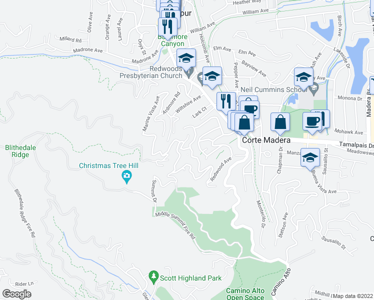 map of restaurants, bars, coffee shops, grocery stores, and more near 1 Summit Dr in Corte Madera