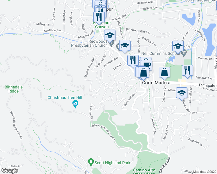 map of restaurants, bars, coffee shops, grocery stores, and more near 14 Summit Drive in Corte Madera